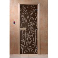 """Дверь """"Бамбук и бабочки черный жемчуг"""""""